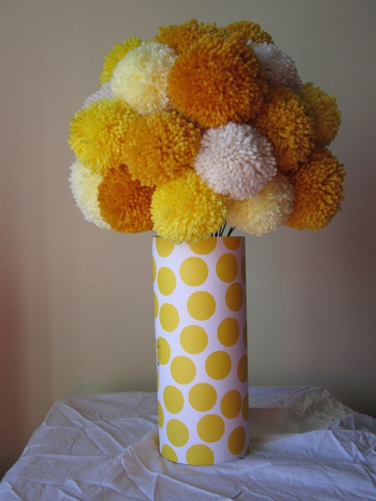 customized pompom flowers and a vase set  u2013 house of kristy